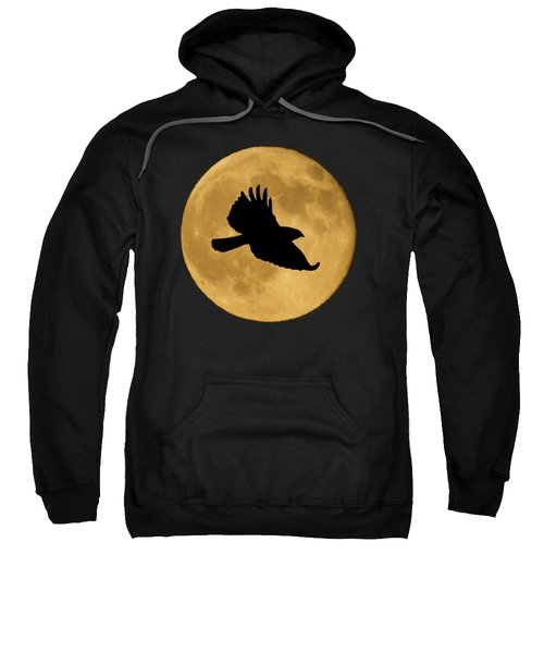 Hawk Flying By Full Moon Sweatshirt