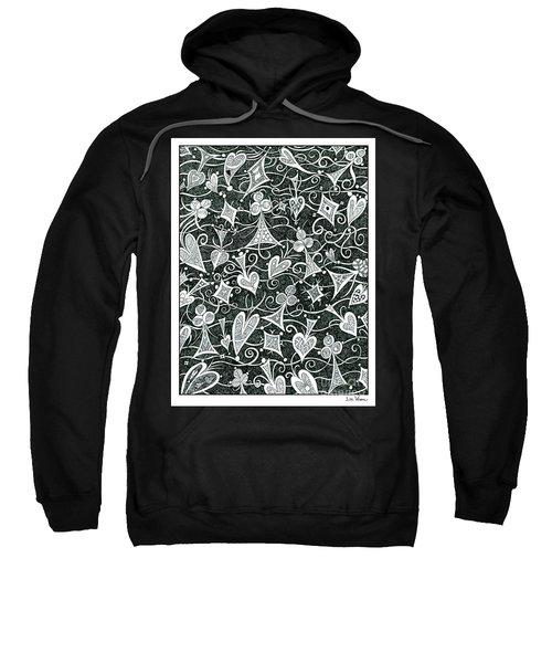 Hearts, Spades, Diamonds And Clubs In Black Sweatshirt