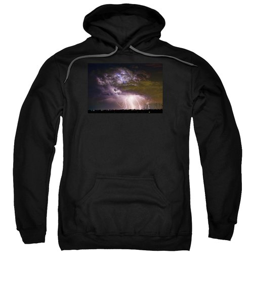 Highway 52 Storm Cell - Two And Half Minutes Lightning Strikes Sweatshirt