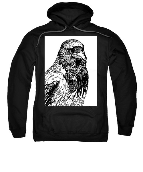 Hooded Crow Line Art Woodcut Type Illustration Sweatshirt