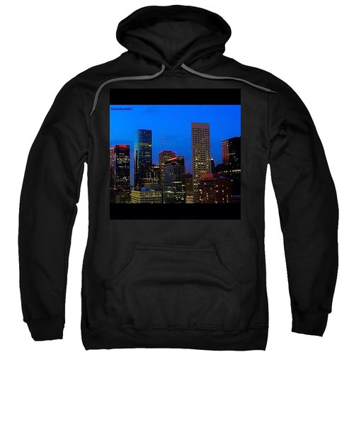 #houston #skyline At #night. #lights Sweatshirt by Austin Tuxedo Cat