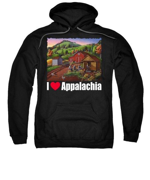 I Love Appalachia T Shirt - Farmers Shucking Corn And Storing In Corncrib 2 - Corn Crib Sweatshirt
