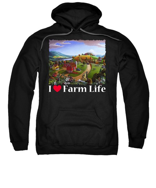 I Love Farm Life T Shirt - Appalachian Blackberry Patch 2 - Rural Farm Landscape Sweatshirt