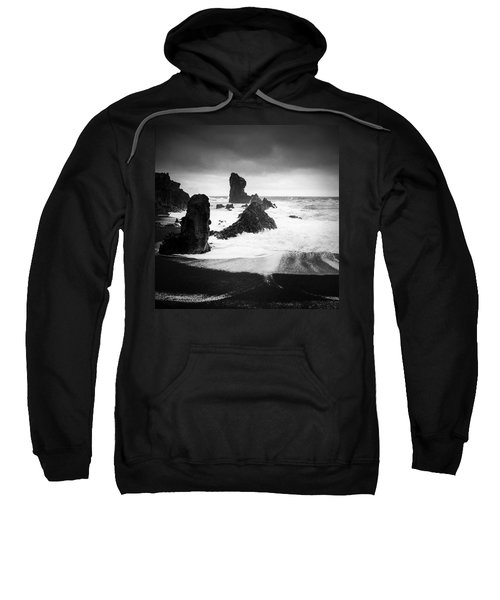 Iceland Dritvik Beach And Cliffs Dramatic Black And White Sweatshirt