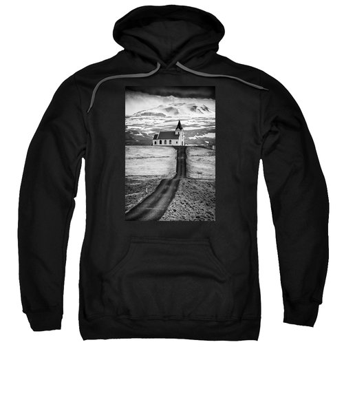 Iceland Ingjaldsholl Church And Mountains Black And White Sweatshirt