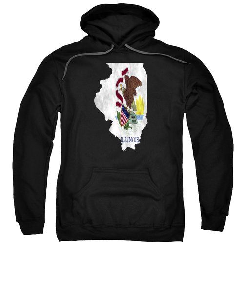 Illinois Map Art With Flag Design Sweatshirt