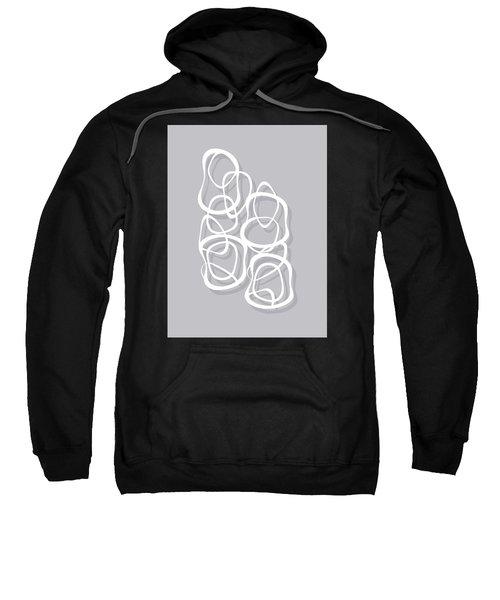 Interlocking - White On Soft Gray Owl - Pattern Sweatshirt