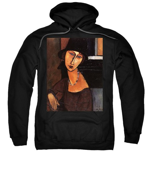 Jeanne Hebuterne With Hat And Necklace Sweatshirt