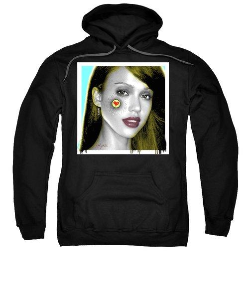 Jessica Alba Pop Art, Portrait, Contemporary Art On Canvas, Famous Celebrities Sweatshirt by Dr Eight Love