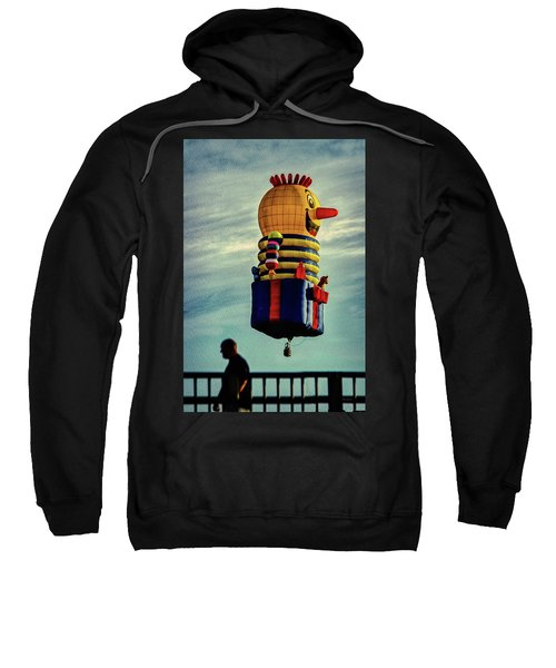 Just Passing Through  Hot Air Balloon Sweatshirt by Bob Orsillo