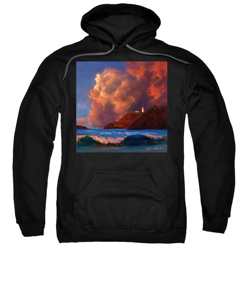 Kilauea Lighthouse - Hawaiian Cliffs Sunset Seascape And Clouds Sweatshirt