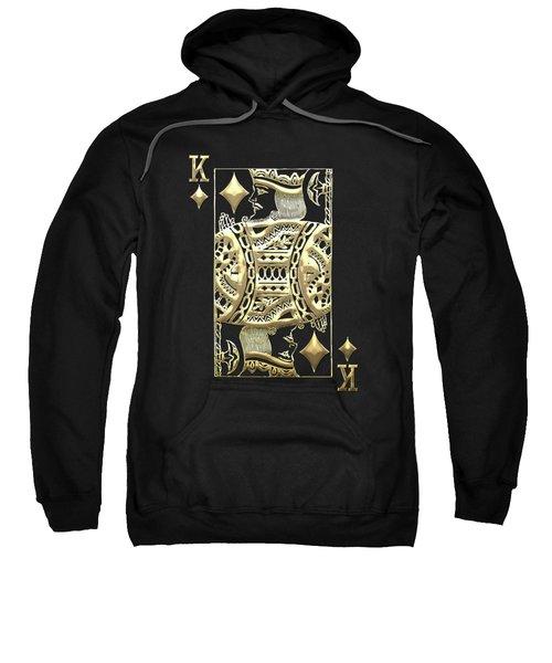 King Of Diamonds In Gold On Black  Sweatshirt