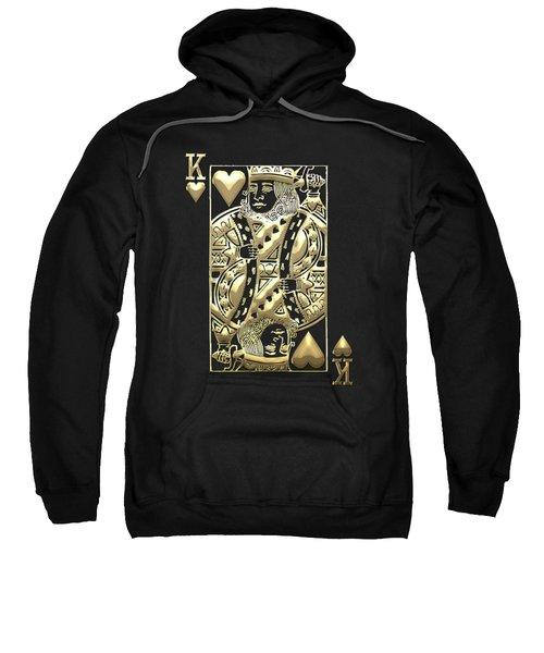 King Of Hearts In Gold On Black Sweatshirt