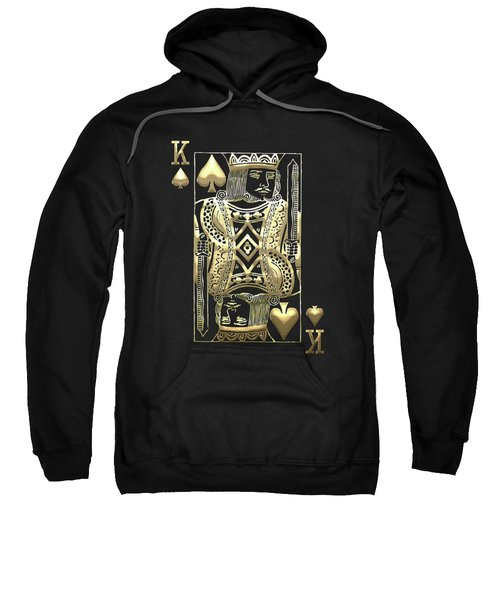 King Of Spades In Gold On Black   Sweatshirt