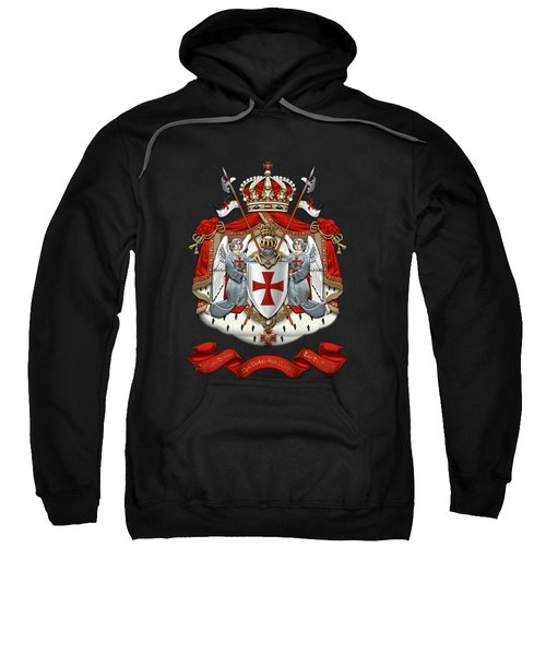 Knights Templar - Coat Of Arms Over Black Velvet Sweatshirt by Serge Averbukh