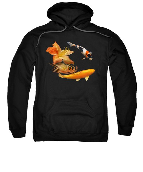 Koi With Azalea Ripples Square Sweatshirt by Gill Billington