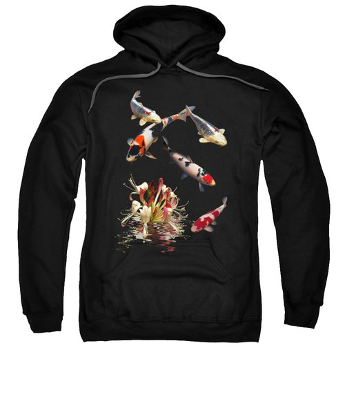 Koi With Honeysuckle Reflections Vertical Sweatshirt by Gill Billington