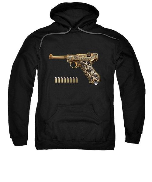 Krieghoff Presentation P.08 Luger With Ammo Over Black Velvet Sweatshirt