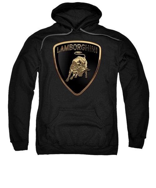 Lamborghini - 3d Badge On Black Sweatshirt by Serge Averbukh