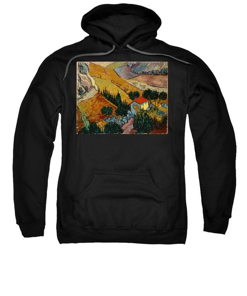Sweatshirt featuring the painting Landscape With House And Ploughman by Van Gogh