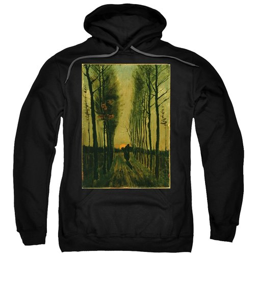 Sweatshirt featuring the painting Lane Of Poplars At Sunset by Van Gogh