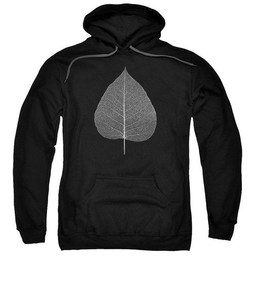 Leaf Veins Skeleton - Leaf Structure In Silver On Black Sweatshirt