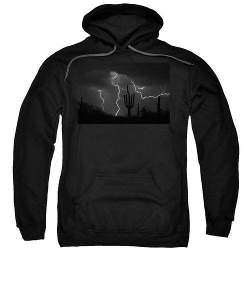 Lightning Storm Saguaro Fine Art Bw Photography Sweatshirt