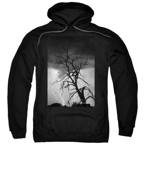 Lightning Tree Silhouette Portrait Bw Sweatshirt