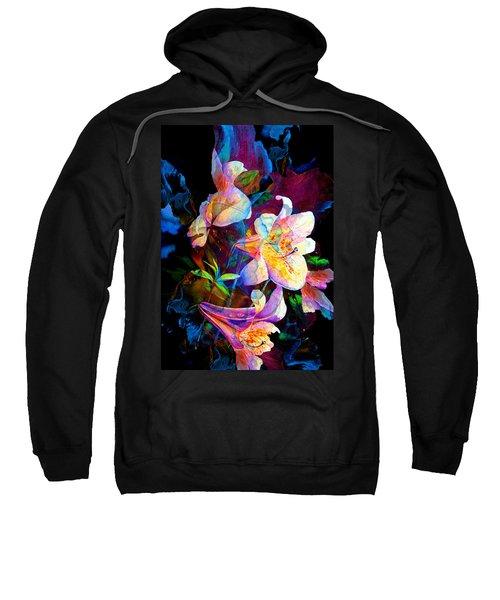 Sweatshirt featuring the painting Lily Fiesta Garden by Hanne Lore Koehler