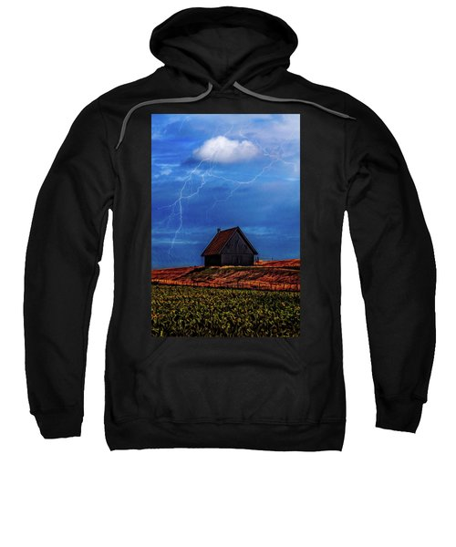 Little Barn At The Top Of The Hill On A Stormy Night Sweatshirt