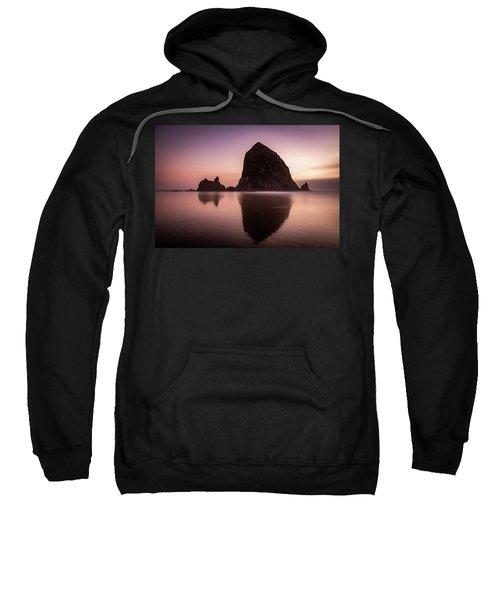 Long Exposure Of Haystack Rock At Sunset Sweatshirt