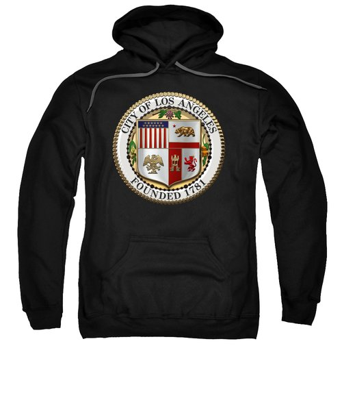 Los Angeles City Seal Over Black Velvet Sweatshirt by Serge Averbukh