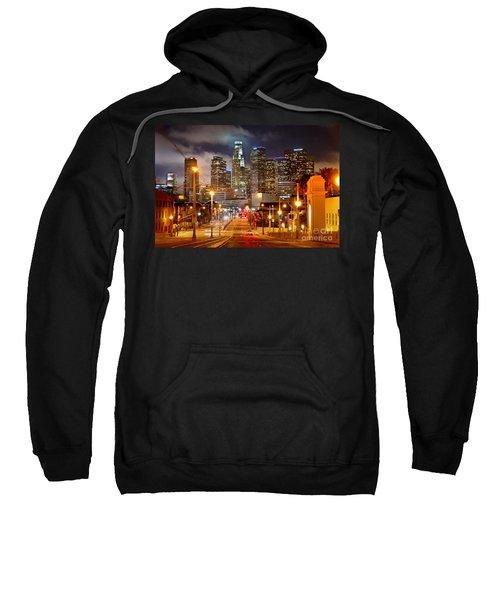 Los Angeles Skyline Night From The East Sweatshirt by Jon Holiday