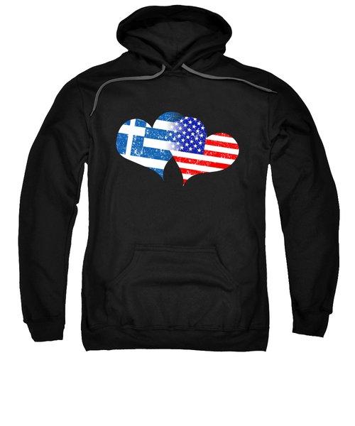 Love Greek Flag Love American Flag Sweatshirt