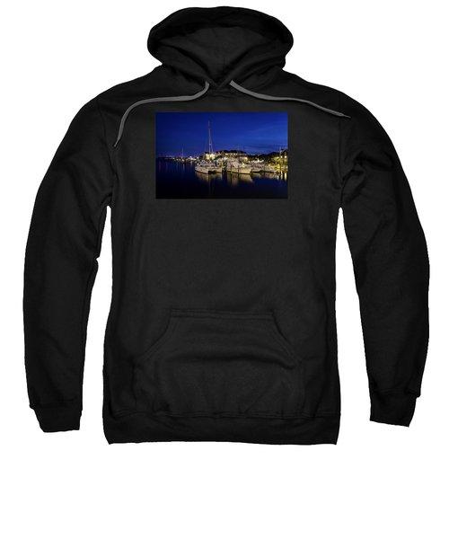Manteo Waterfront Marina At Night Sweatshirt
