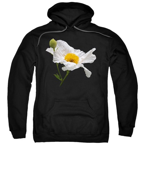 Matilija Poppy On Black Sweatshirt