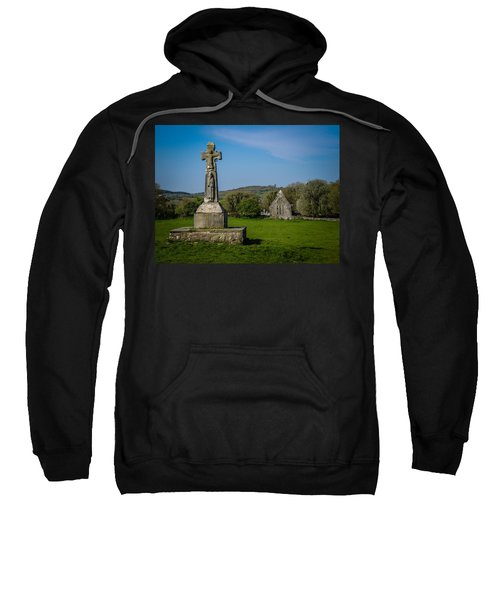 Sweatshirt featuring the photograph Medieval High Cross In Irish Pasture by James Truett
