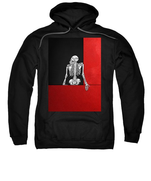 Memento Mori - Skeleton On Red And Black  Sweatshirt by Serge Averbukh
