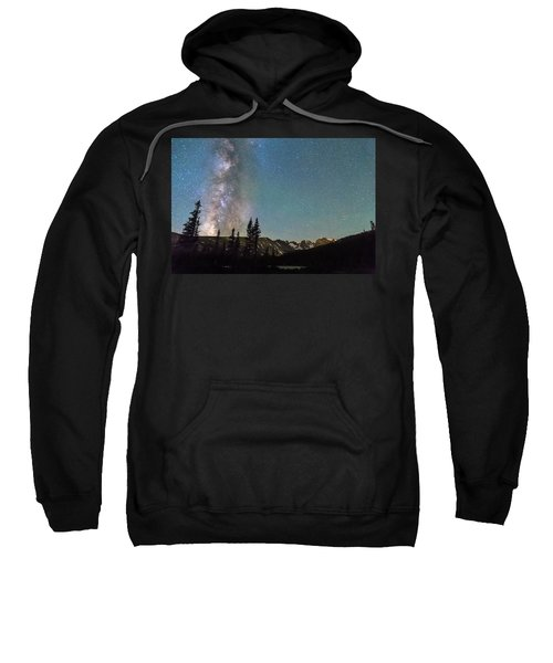 Middle Of The Night Milky Way Above The Rocky Mountains Sweatshirt