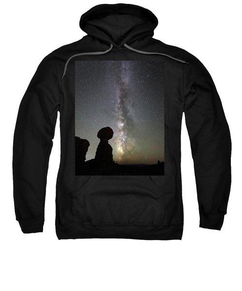 Milky Way Over Balanced Rock Sweatshirt