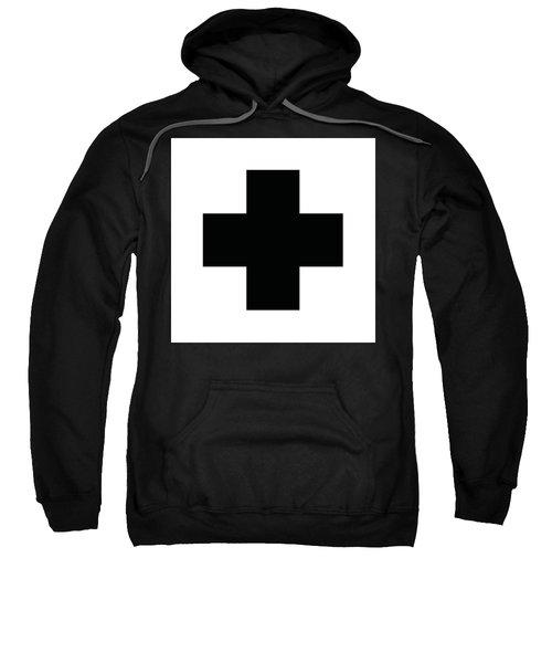 Minimalist Swiss Cross Pattern - Black On White Sweatshirt