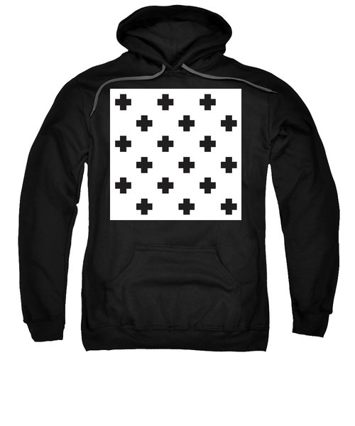 Minimalist Swiss Cross Pattern - Black, White 02 Sweatshirt