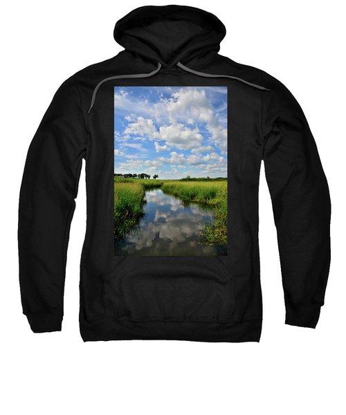 Mirror Image Of Clouds In Glacial Park Wetland Sweatshirt