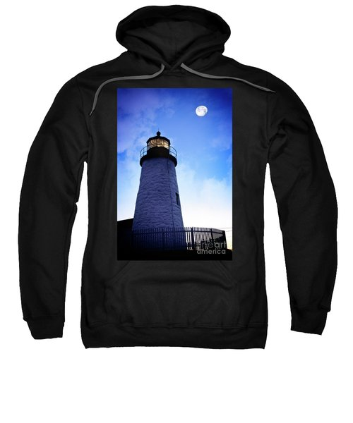 Sweatshirt featuring the photograph Moon Over Lighthouse by Scott Kemper