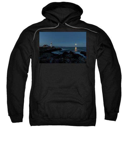Moon Rise At Portland Headlight Sweatshirt