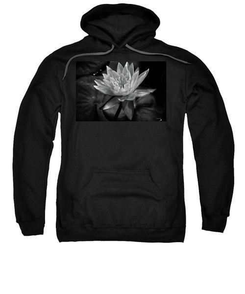 Moonlit Water Lily Bw Sweatshirt
