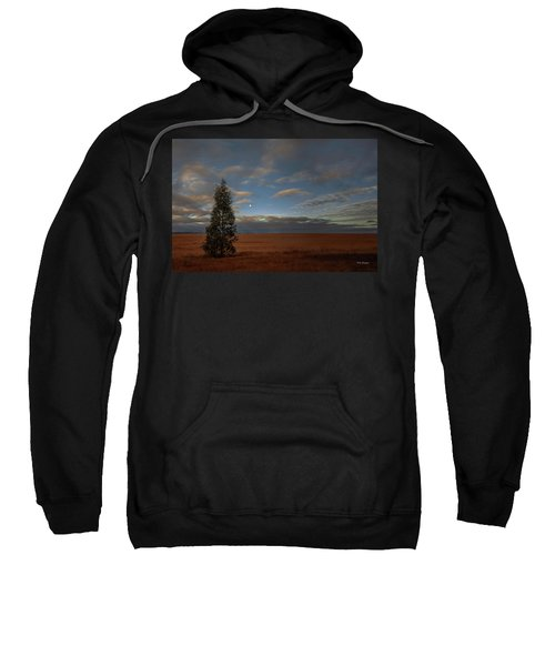 Moonset  In A Large Morning Sky Sweatshirt