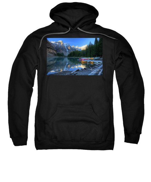 Moraine Lake Sunrise Blue Skies Canoes Sweatshirt