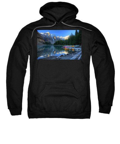 Moraine Lake Sunrise Blue Skies Canoes Sweatshirt