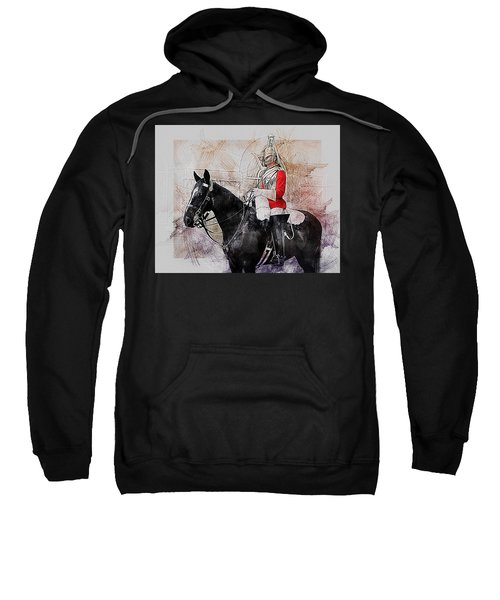 Mounted Household Cavalry Soldier On Guard Duty In Whitehall Lon Sweatshirt